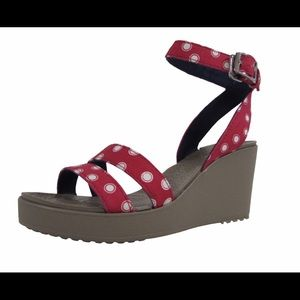 Crocs wedge leigh sandals 7 red